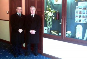 Pat & John Flood in the hallway of Flood Funeral Directors